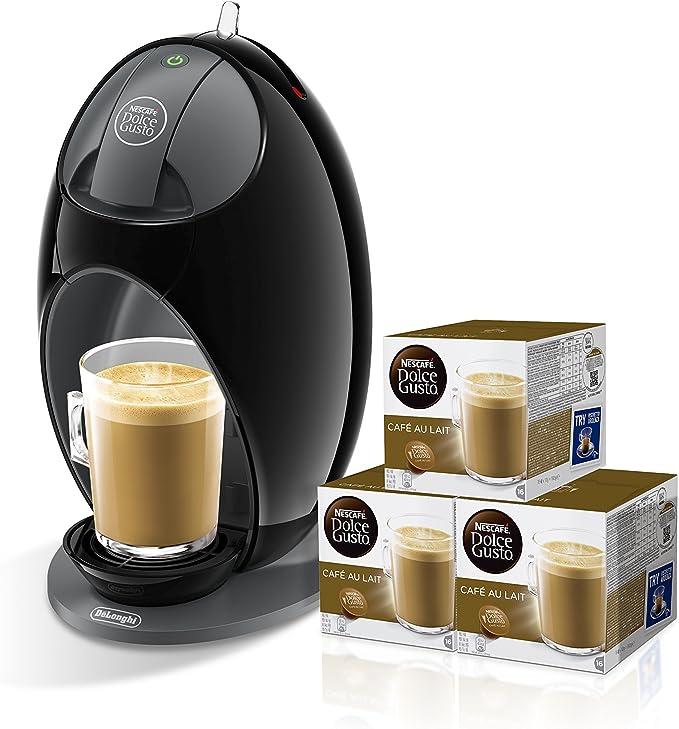 Pack DeLonghi Dolce Gusto Jovia EDG250.B - Cafetera de cápsulas, 15 bares de presión, color negro + 3 packs de café Dolce Gusto Con Leche: Amazon.es: Hogar