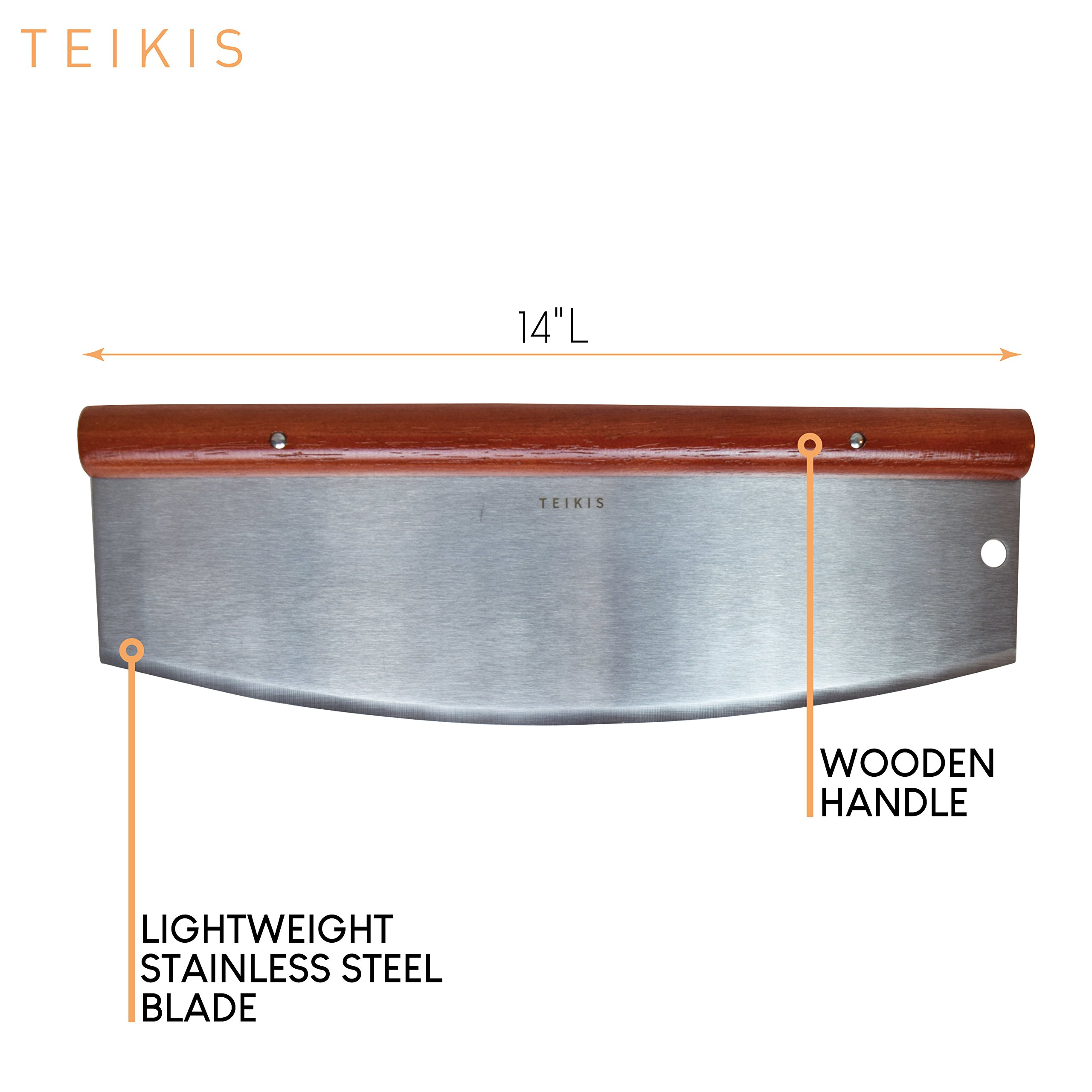 TeiKis Large 14-inch Pizza Cutter + Pizza Peel Paddle Board Set (14-inch x 16-inch) with Wood Handle by TeiKis (Image #4)