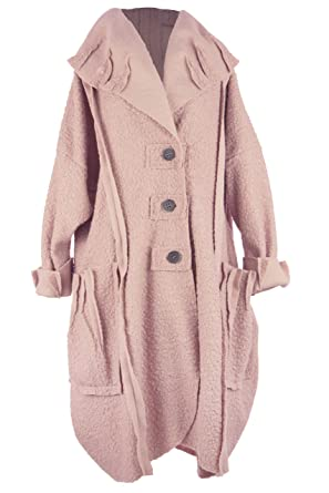 0e2ac735c0e12 TEXTURE Ladies Women Italian Lagenlook Collar 3 Button Boucle Wool  Oversized Cocoon Tulip Coat Jacket One
