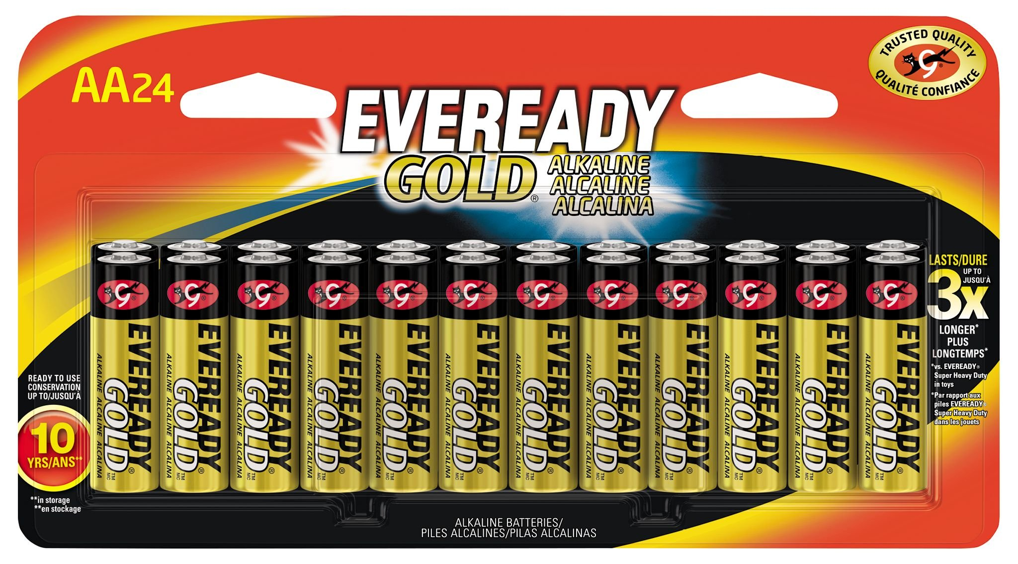 Eveready Gold Alkaline Batteries Aaa In Family Pack 16 Arta Cutaway Diagram Show A Typical Cell Or Battery With Energizer Aa 24 Count