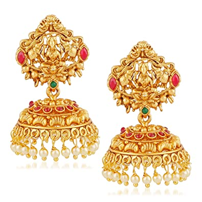 MEENAZ Temple Jewellery Sets Traditional Matt Gold Pearl Ruby Green Laxmi  Jhumka/Jhumki Earrings for Women/Girls-Jhumki earrings-349