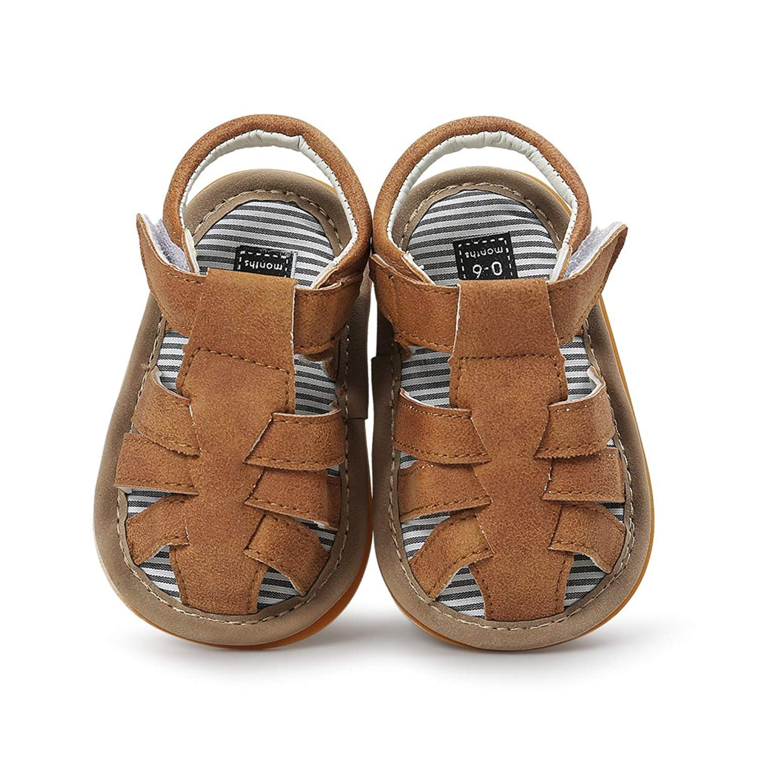 Baby Leather Moccasins, Infant Baby Boys Girls PU Leather Rubber Sole Summer Sandals First Walkers