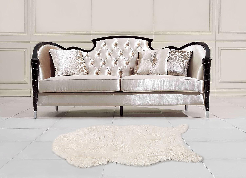 クッション ベッドルームラグ フェイクファー リビングルームラグ ソファー敷物 ふわふわ ラグ  ホワイト白色80*120cm B074XT4GFN クリーム M
