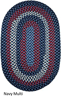 product image for Rhody Rug Mission Hill (7' x 9') Multicolored Indoor/Outdoor Reversible Oval Braided Rug Navy Multi
