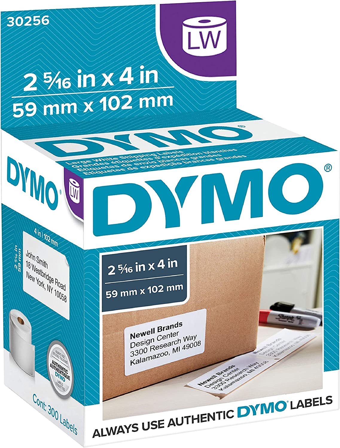 "DYMO Authentic LW Large Shipping Labels | DYMO Labels for LabelWriter Label Printers, (2-5/16"" x 4), Print Up to 6-Line Addresses, 1 Roll of 300 : Office Products"