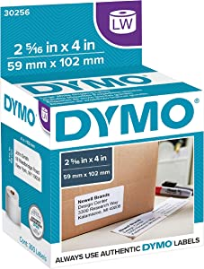 "DYMO Authentic LW Large Shipping Labels | DYMO Labels for LabelWriter Label Printers, (2-5/16"" x 4), Print Up to 6-Line Addresses, 1 Roll of 300"