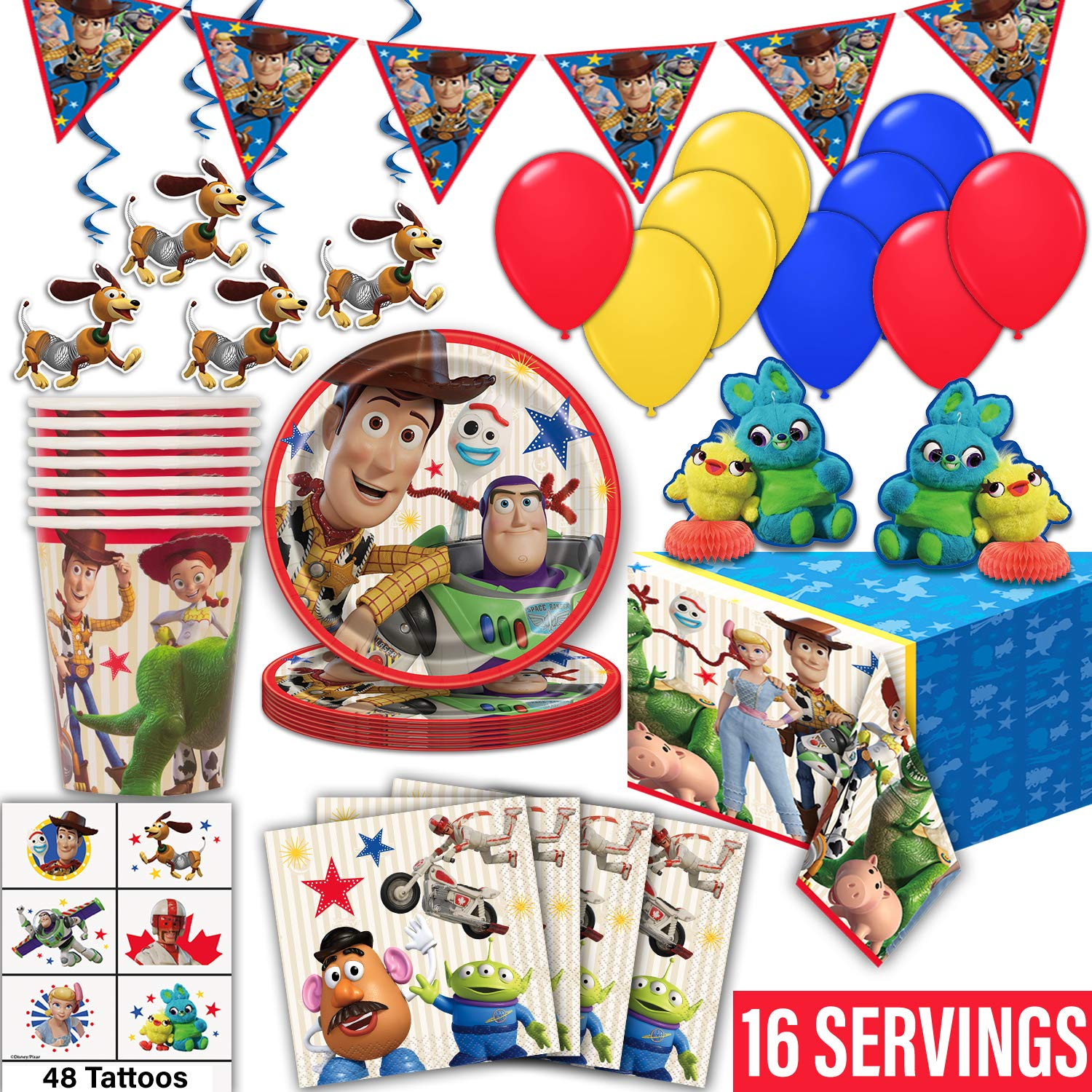 Toy Story 4 Party Supplies for 16- Plates, Cups, Napkin, Tablecloth, Banner, Hanging Swirls, Centerpieces, Tattoos, Balloons - Disposable Birthday Tableware, Decorations, Favors -Official Disney/Pixar by HeroFiber