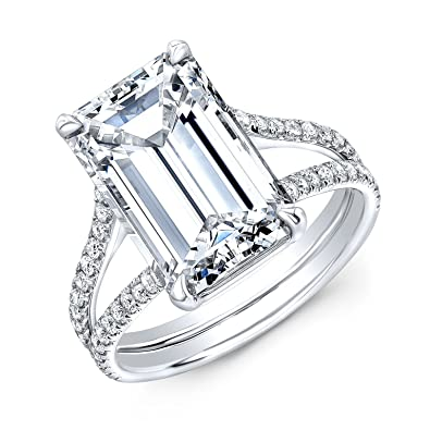 45ac34230e29a1 DIAMOND MANSION Breathtakingly Beautiful Emerald Cut Split Shank Diamond  Engagement Ring - GIA Certified (Platinum