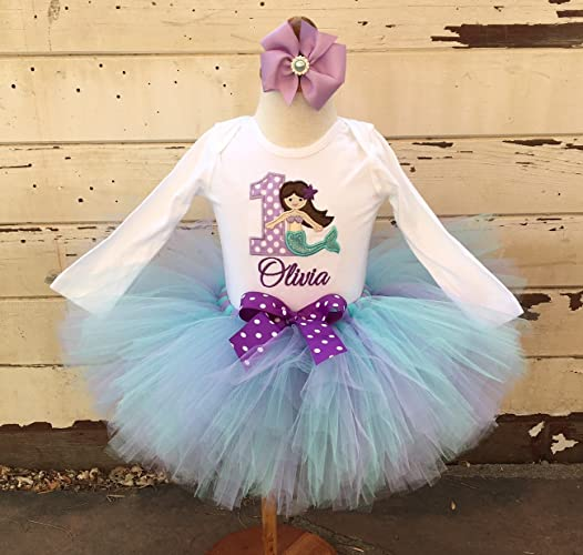 f93f89ab9 Image Unavailable. Image not available for. Color: Mermaid 1st Birthday  Tutu Outfit- Personalized Baby Girl