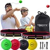 TEKXYZ Boxing Reflex Ball Family Pack | 2 Adjustable Headbands + 2 Novice Reflex Balls + 1 Veteran Reflex Ball + 1 Boxer…
