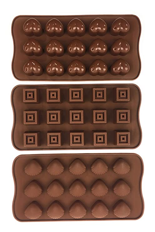 Bucanero Silikonform Herzchen Muscheln Würfel - Pralinenform Silikon - für Schokolade Bonbons Eiswürfel Zuckerguss Praline -