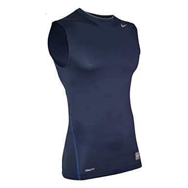 1b25510a97337 Nike Men s Pro Competition Compression Training Sleeveless Crew T-Shirt M  New Navy