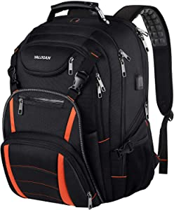 Travel Laptop Backpack,Extra Large 18.4 Inch Laptop Backpack, RFID Anti Theft,Back Chest Strap,TSA Friendly Men Backpack USB Charging Port,Water Resistant College School Computer Bookbag Rugby Bag