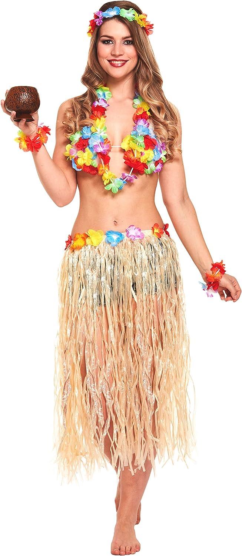 ORANGE 5 PC HAWAIIAN SET GRASS SKIRT FLOWER LEI HEADBAND BRACELETS FANCY DRESS