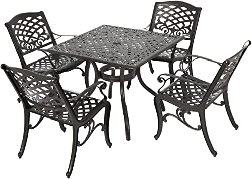 Christopher Knight Home Hallandale Outdoor Sarasota Cast Aluminum Square Dining Set