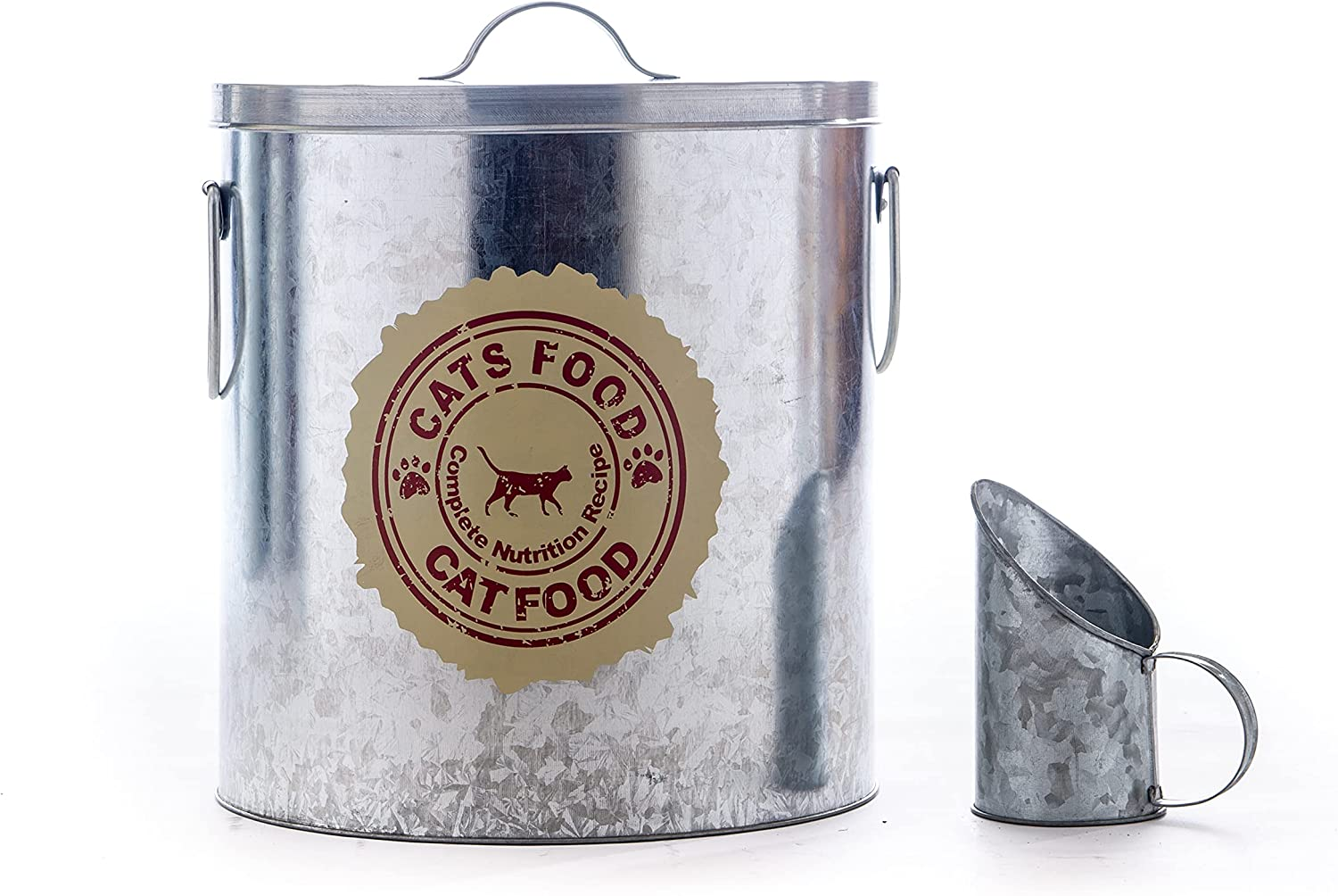 Silver 20lb Cat Food Storage with Scoop with Red and Off White Decal | Pet Container for Food That can fit in The Pantry | Modern Beautiful Cat Pet Food Storage Container