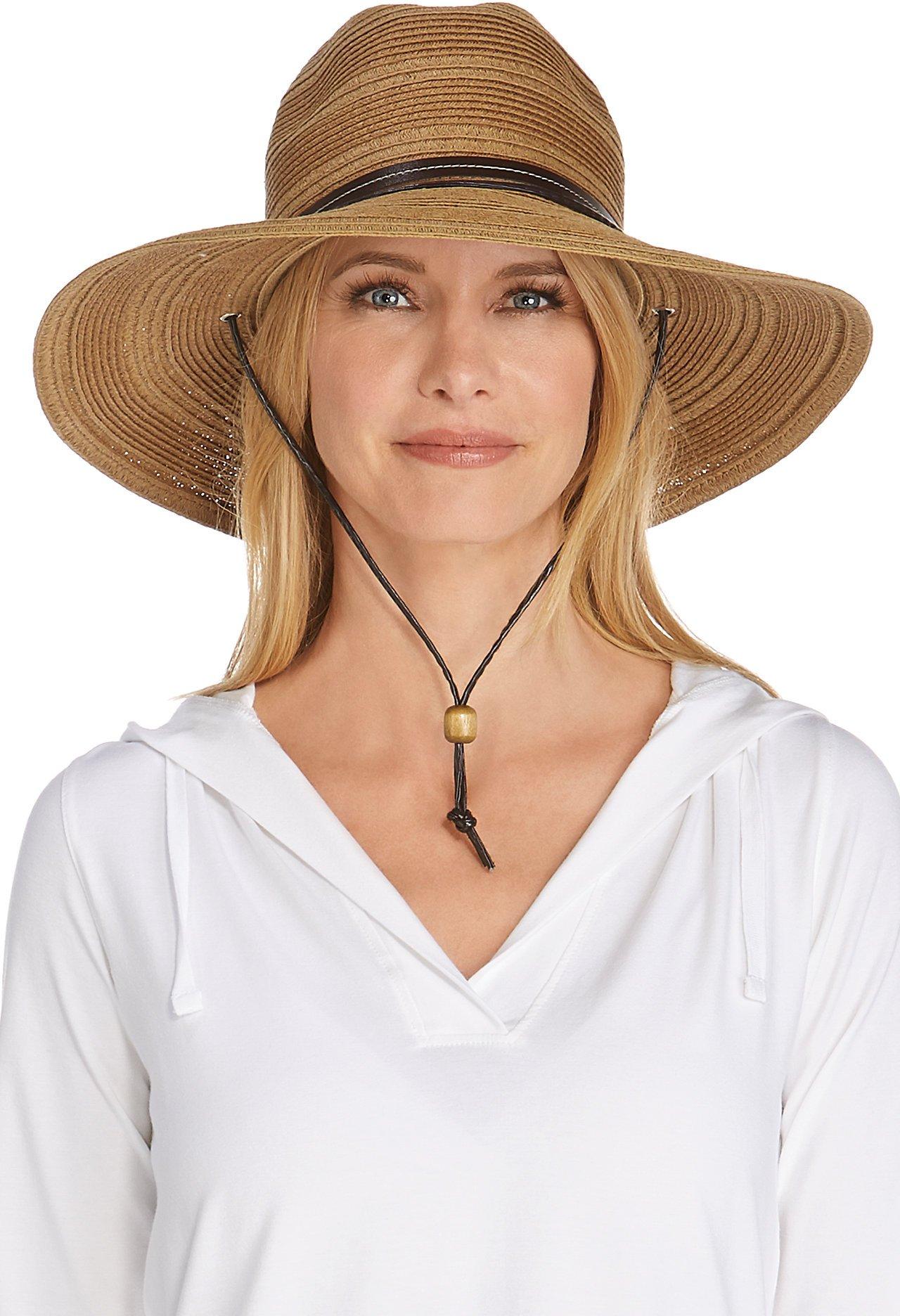 Coolibar UPF 50+ Women's Tempe Sun Hat - Sun Protective (One Size- Brown/Natural)