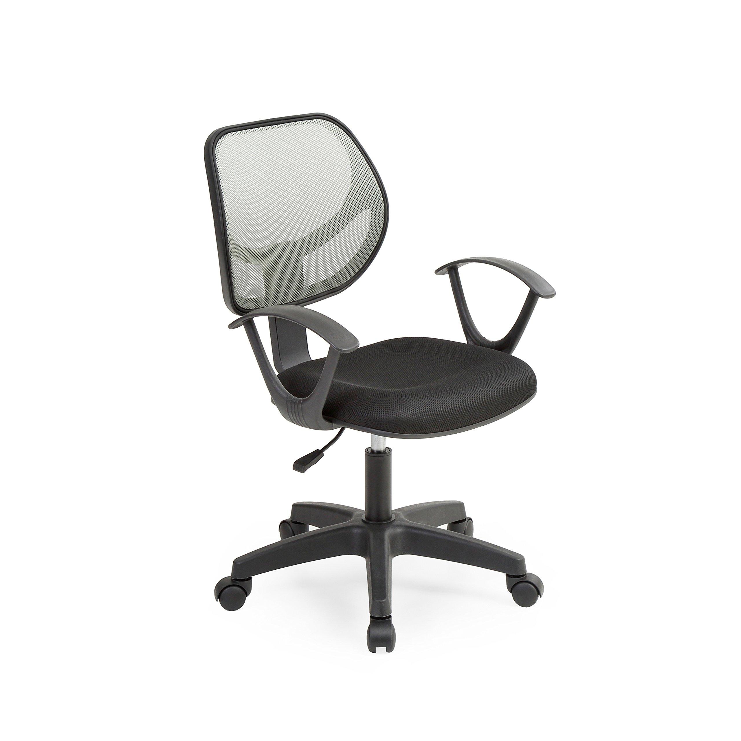 HODEDAH IMPORT Hodedah Mesh, Mid-Back, Adjustable Height, Swiveling Task Chair with Padded Seat in Grey