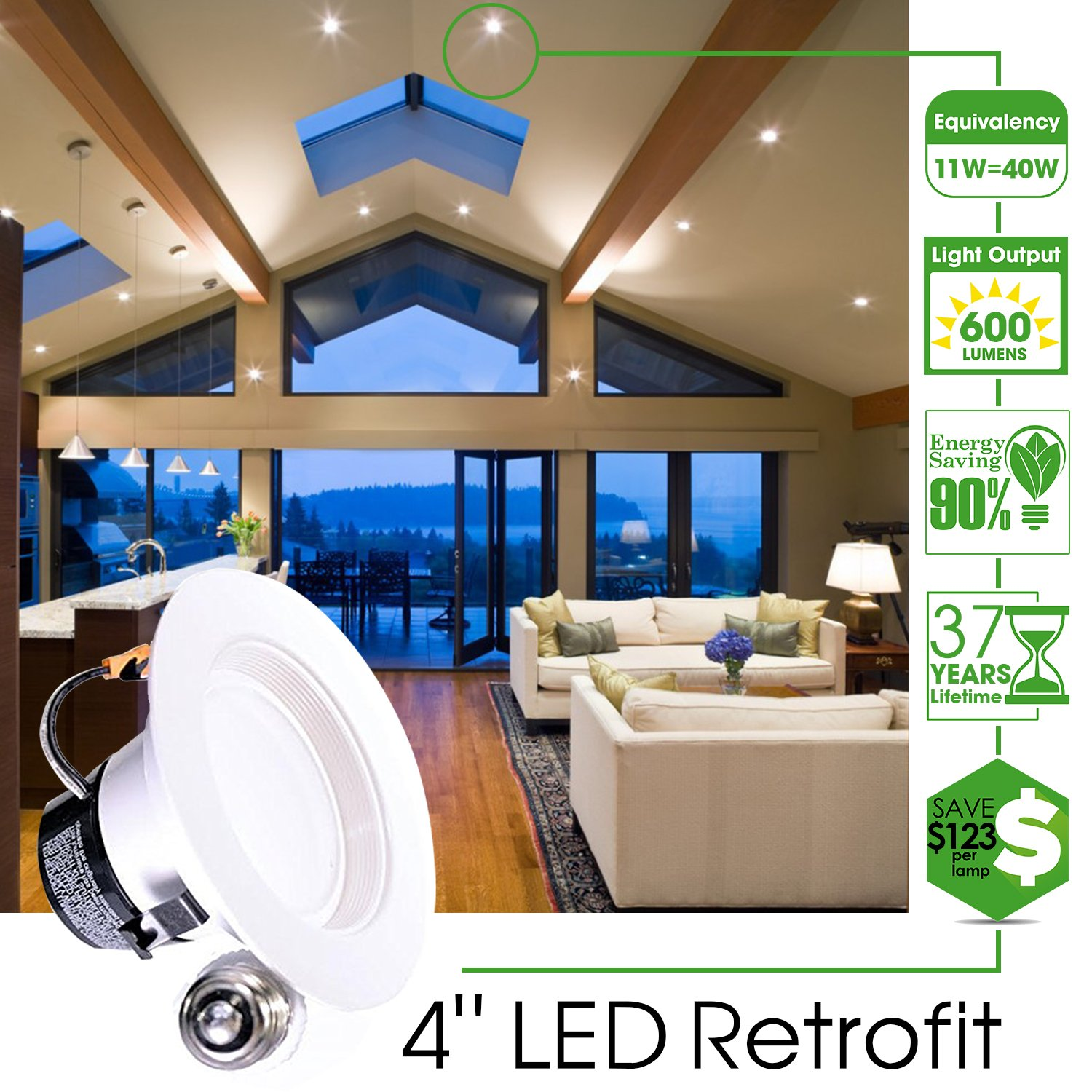 UL Dimmable Simple Retrofit Installation 660 LM Sunco Lighting 4 Inch LED Recessed Downlight 11W=40W 2700K Soft White Energy Star Baffle Trim Damp Rated