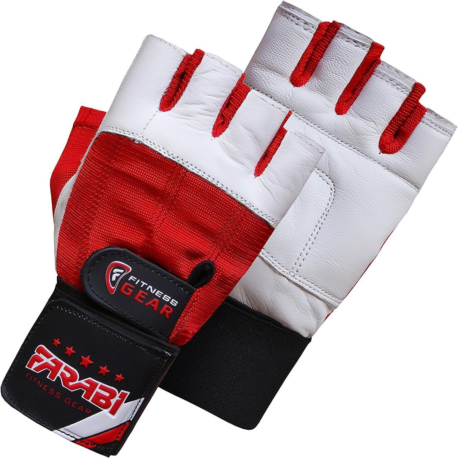 color blanco y rojo Farabi Sports piel Guantes para halterofilia
