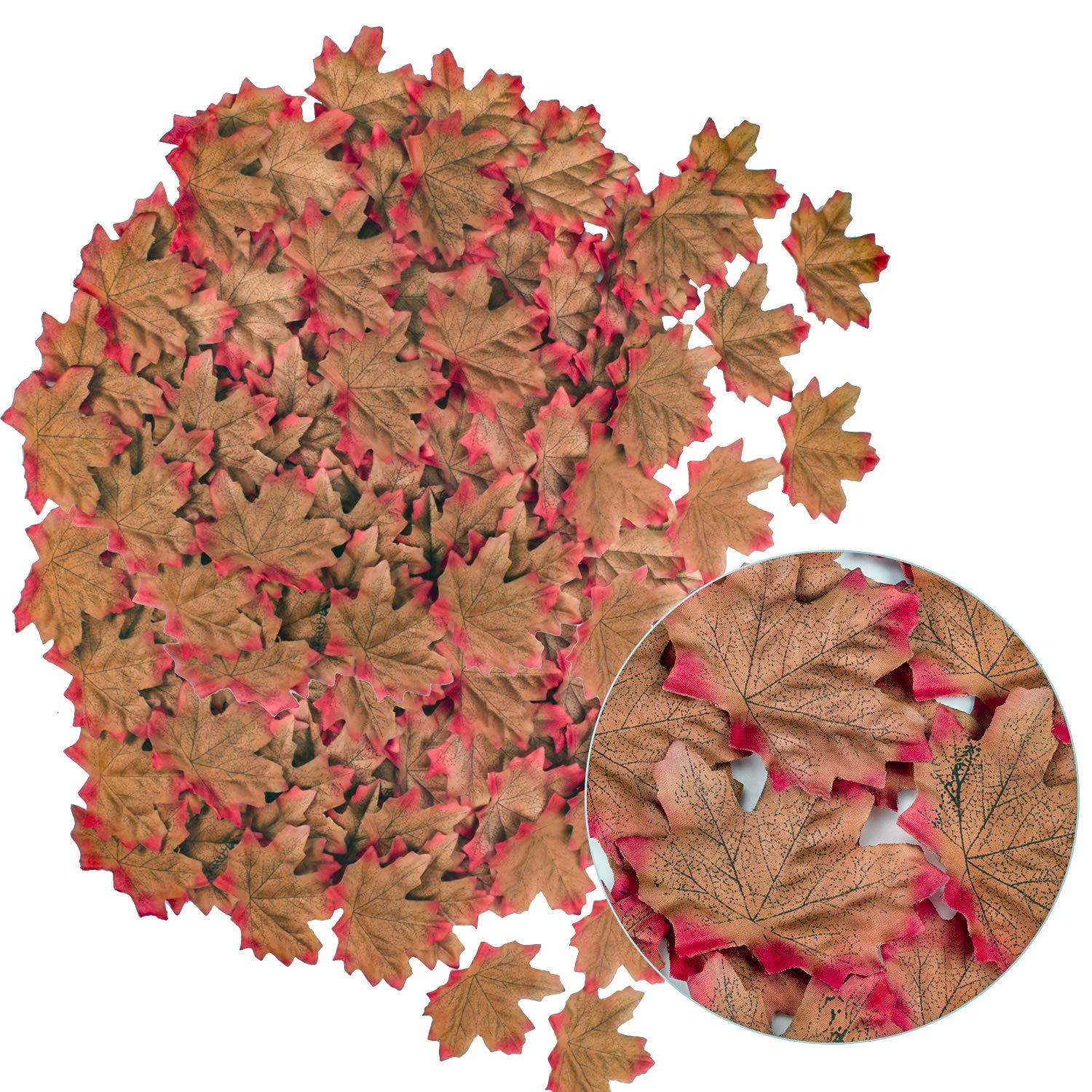 HENMI 500PCS Artificial Maple Leaves 5 Assorted Mixed Fake Fall Maple Leaf Lifelike Looking Silk Autumn Fall Leaf Garland for Thanksgiving Fall Themed Weeding Party Festival Table Decorations