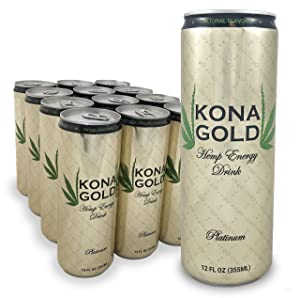 Kona Gold Platinum Hemp Energy Drink 12.0 Fl Oz, Pure Sugar Cane, Organic Hemp (Pack of 12)