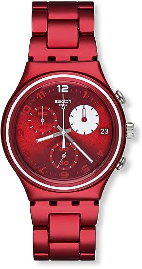 Swatch White Circle YCR4000AG - Reloj cronógrafo de Cuarzo para Hombre con Correa de Aluminio, Color Rojo: Swatch: Amazon.es: Relojes