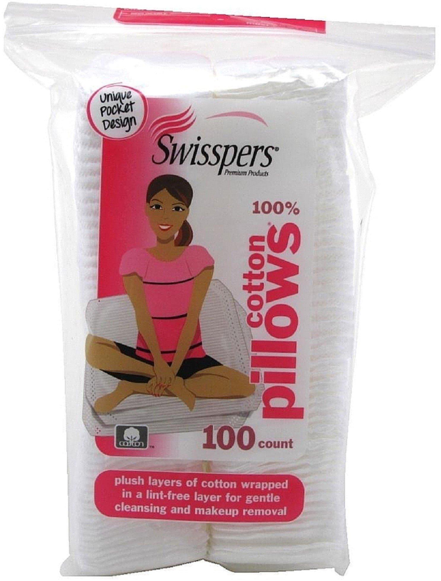 Swisspers Premium Cotton Squares Pillows 100 ea (Pack of 7)