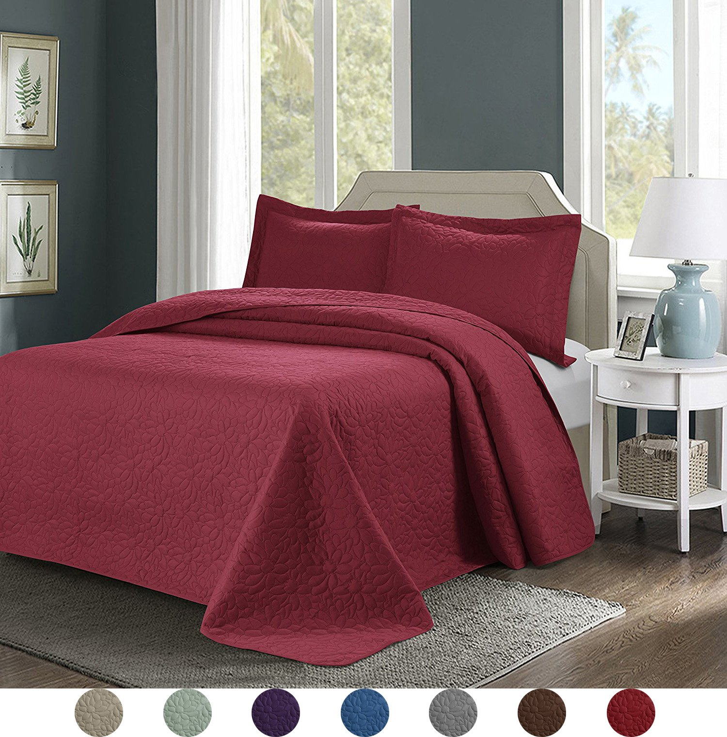 3 Piece Superior Comfy Embossed Bedspread Set,Oversized Ultrasonic Thermal Pressing Embossed Coverlet Set,Moderate Weight Bed Spread,TINOS(King,Burgundy) by GIH Bedspread Sets