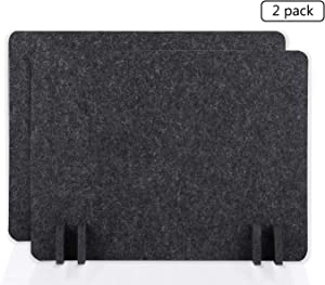 BUBOS Acoustic Desk Divider,Lightweight Desk Mounted Privacy Panel,Sound Absorbing Cubicle Desk Dividers, Acoustic Partitions,Can Reduce Noise and Visual Distractions(21x 16inch,2Pack) (Sesame Black)