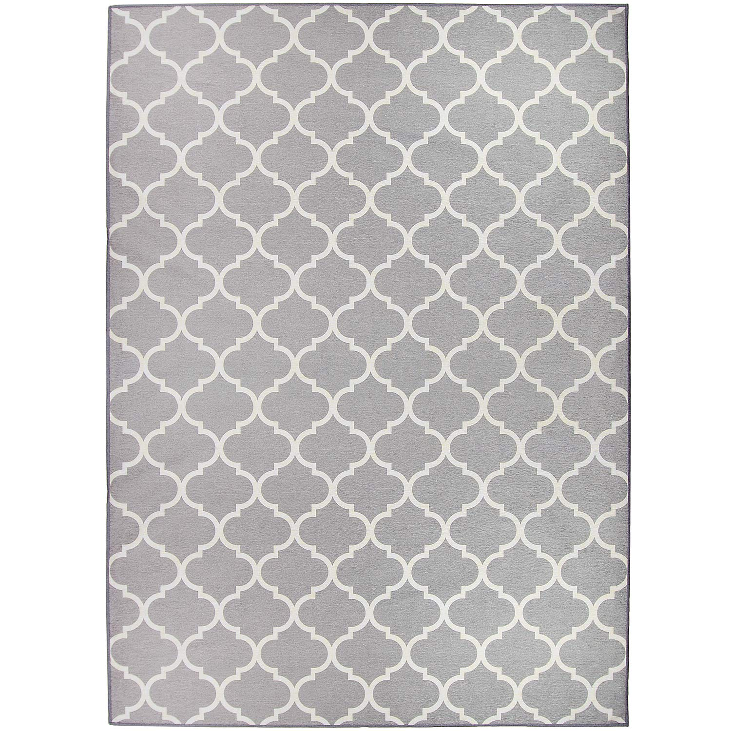 RUGGABLE Moroccan Trellis Light Grey Washable Indoor/Outdoor Stain Resistant 5'x7' (60''x84'') Area Rug 2pc Set (Cover and Pad)