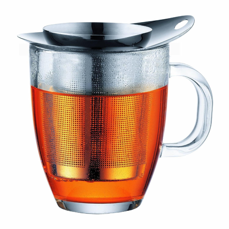 Bodum YO-YO Glass Mug with Tea Strainer (0.35 L/12 oz) - Off white K11239-913