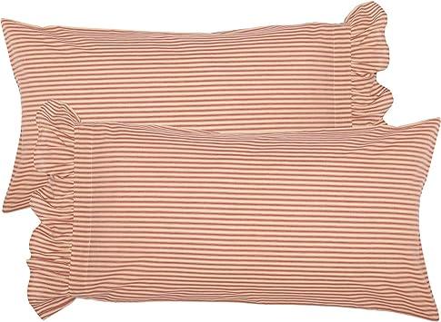 VHC Brands Farmhouse Bedding Sawyer Mill Ticking Cotton Striped King Pillow Case Set of 2 Charcoal Dark Creme White