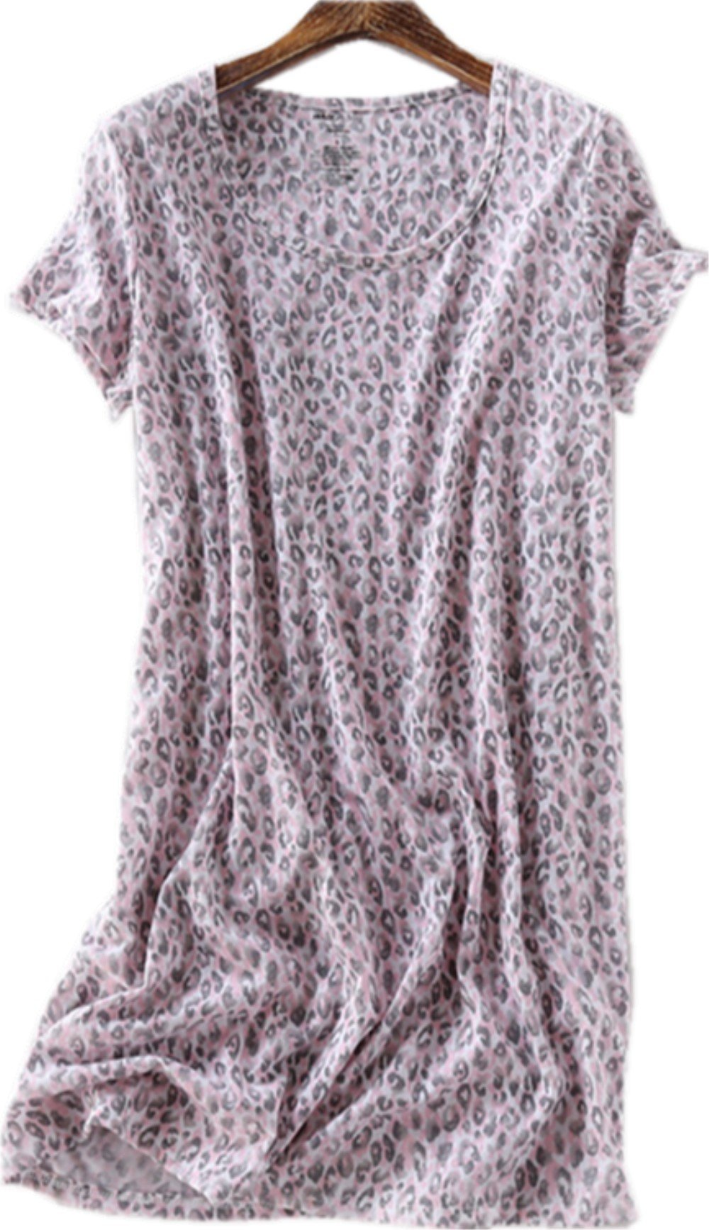 Amoy madrola Women's Cotton Blend Floral Nightgown Casual Nights XTSY108-Leopard-L by Amoy-Baby