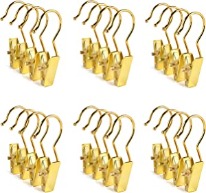 Amber Home 24 PCS Gold Metal Clips with Hooks, Boot Hangers for Closet, Clothes Pins, Portable Home Travel Hangers, Drying Laundry Single Hooks with Clip for Hat, Bras, Socks, Towels (Gold, 24 PCS)