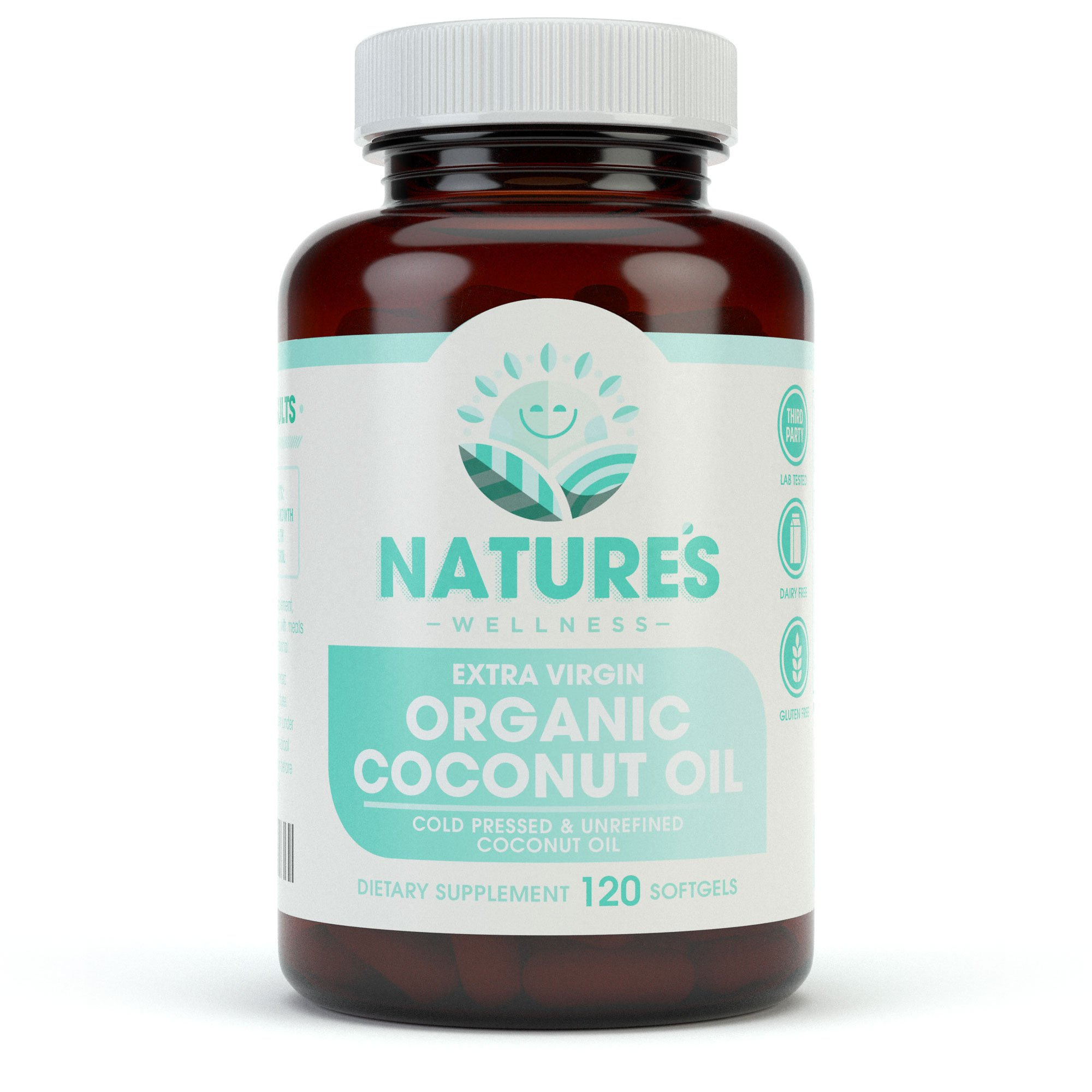 Organic Coconut Oil 2000mg - Highest Grade Extra Virgin Coconut Oil for Skin, Healthy Weight Loss, Hair Growth. Cold Pressed & Non-GMO Coconut Oil Capsules. Unrefined Coconut Oil Rich in MCFA and MCT by Natures Wellness