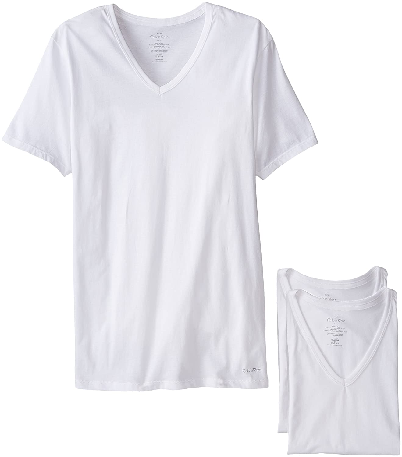 Calvin Klein Men's 3-Pack Cotton Classics Slim Fit V-Neck T-Shirt NB1177