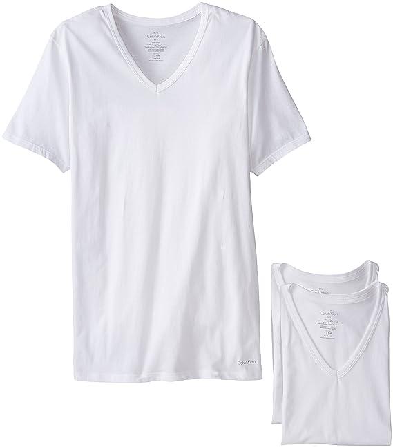 dad5c413d04df Calvin Klein Hombres 3 Playeras algodón Clasico Slim fit Cuello en V ...