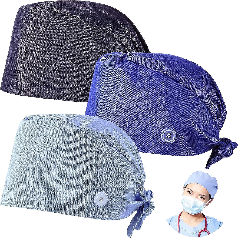 8x Womens Fashionable Printed Scrub Cap Button Turban Sweatband Headwear