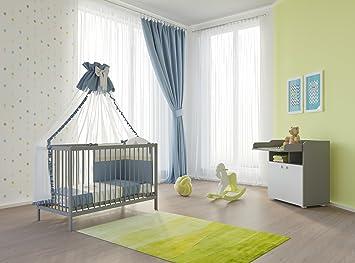 Polini Kids Babyzimmer Set Gitterbett mit Wickelkommode grau weiß