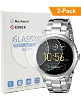Exuun (2-Pack) Fossil Q Wander Gen 1 Tempered Glass Screen Protector, Anti-Scratch Anti-Fingerprint 9H Hardness 0.3mm Ultra Thin 2.5D Round Edge Tempered Glass for Fossil Q Wander