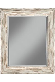 Distressed White Wood Furniture Inside Sandberg Furniture Farmhouse Wall Mirror Antique White Wash Amazoncom Distress Distressed Finish Wood Frame Mirror