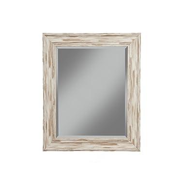 Sandberg Furniture Farmhouse Wall Mirror, Antique White Wash, 36  x 30