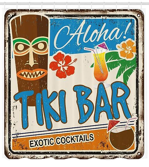 ABAKUHAUS Bar Tiki Cortina de Baño, Cartel Vintage Añejado Aloha Tragos Exóticos y Coco Bebidas Antiguo Nostálgico, Material Resistente al Agua ...