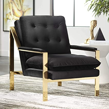 Incredible Amazon Com Cypress Black Velvet Tufted Accent Chair Forskolin Free Trial Chair Design Images Forskolin Free Trialorg