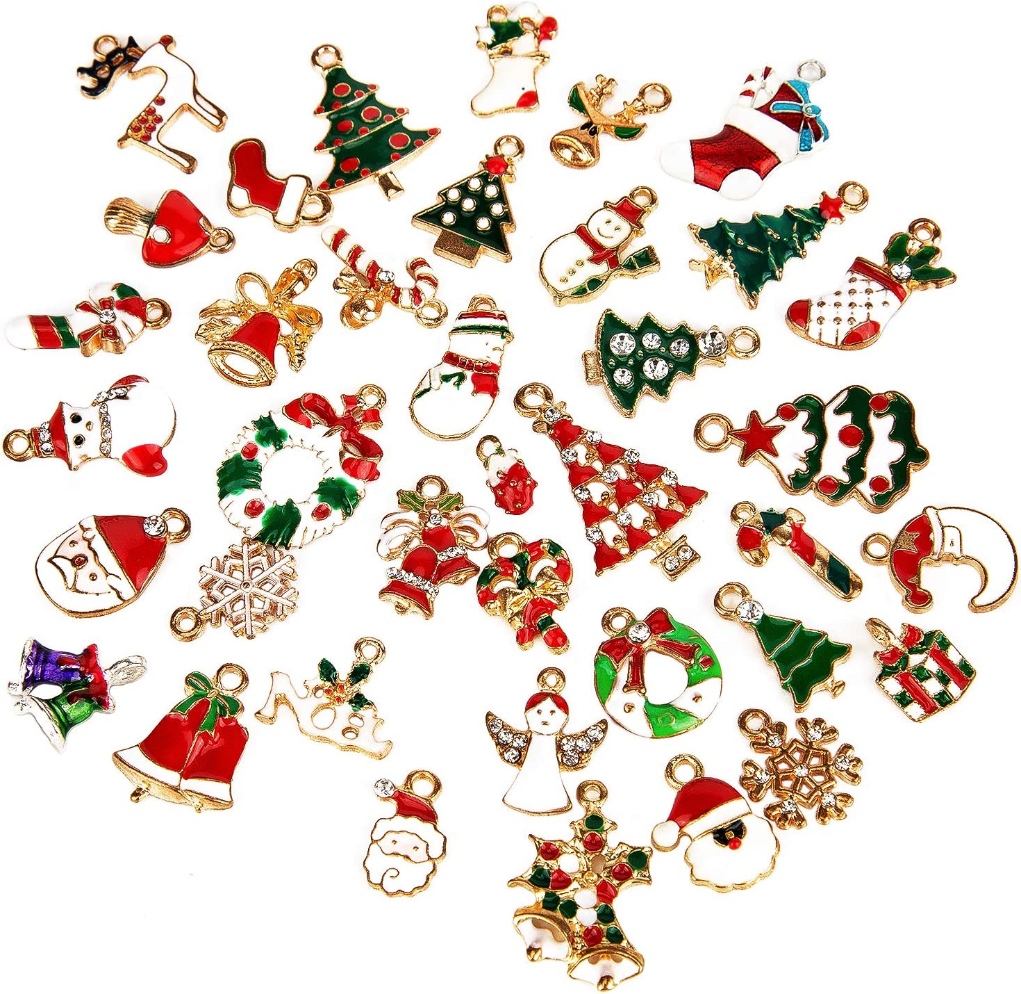 SAVITA 38Pcs Christmas Pendant Charm DIY Christmas Ornaments for Xmas Charm Decorations Jewelry Bracelet Making Clothes Sewing Accessories