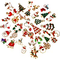 SAVITA 38Pcs Christmas Pendant Charm DIY Christmas Ornaments for Xmas Charm Decorations Jewelry Bracelet Making Clothes…