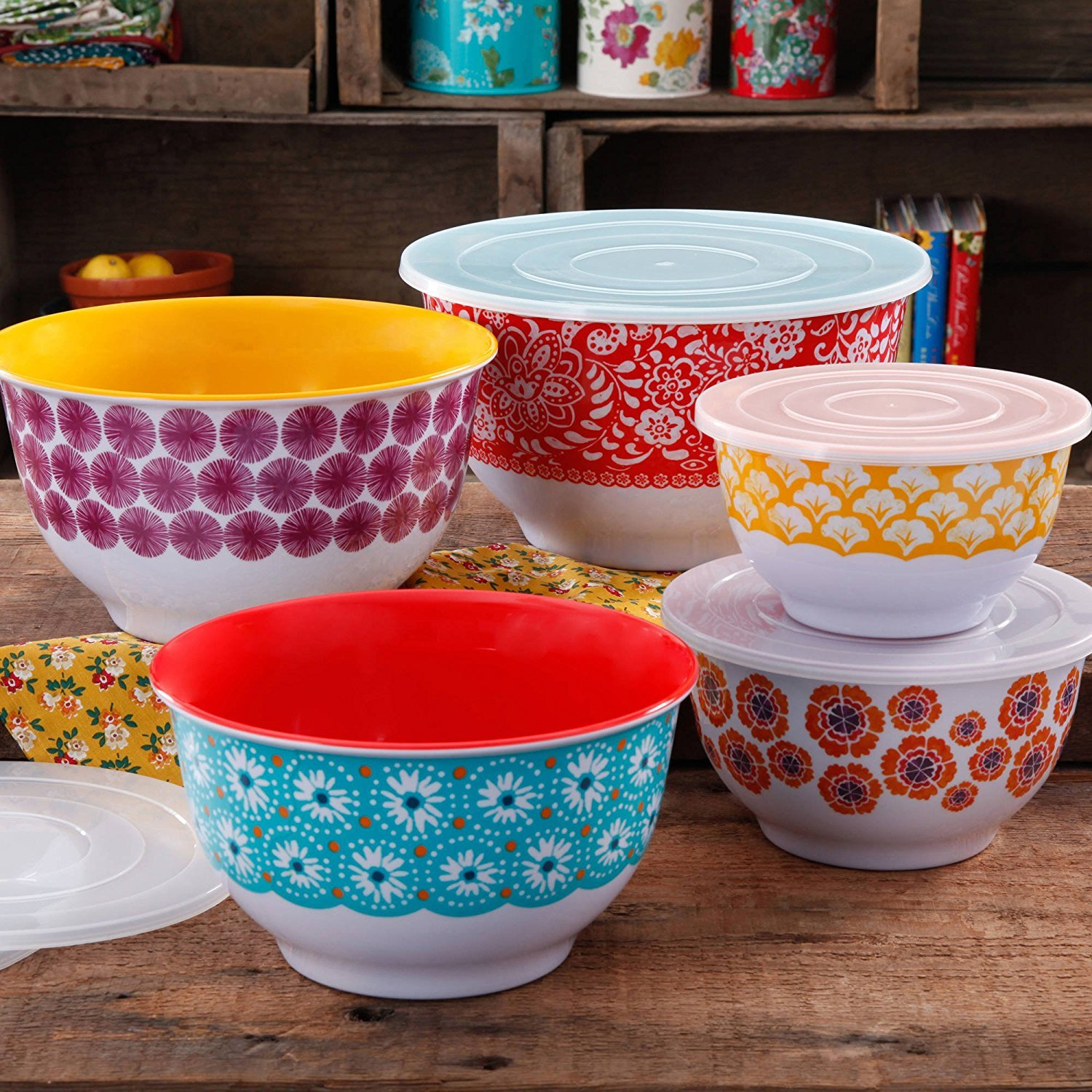 The Pioneer Woman 10-Piece Traveling Nesting Mixing Serving Bowl Set features Vibrant Colors PACK OF 1 by The Pioneer Woman*