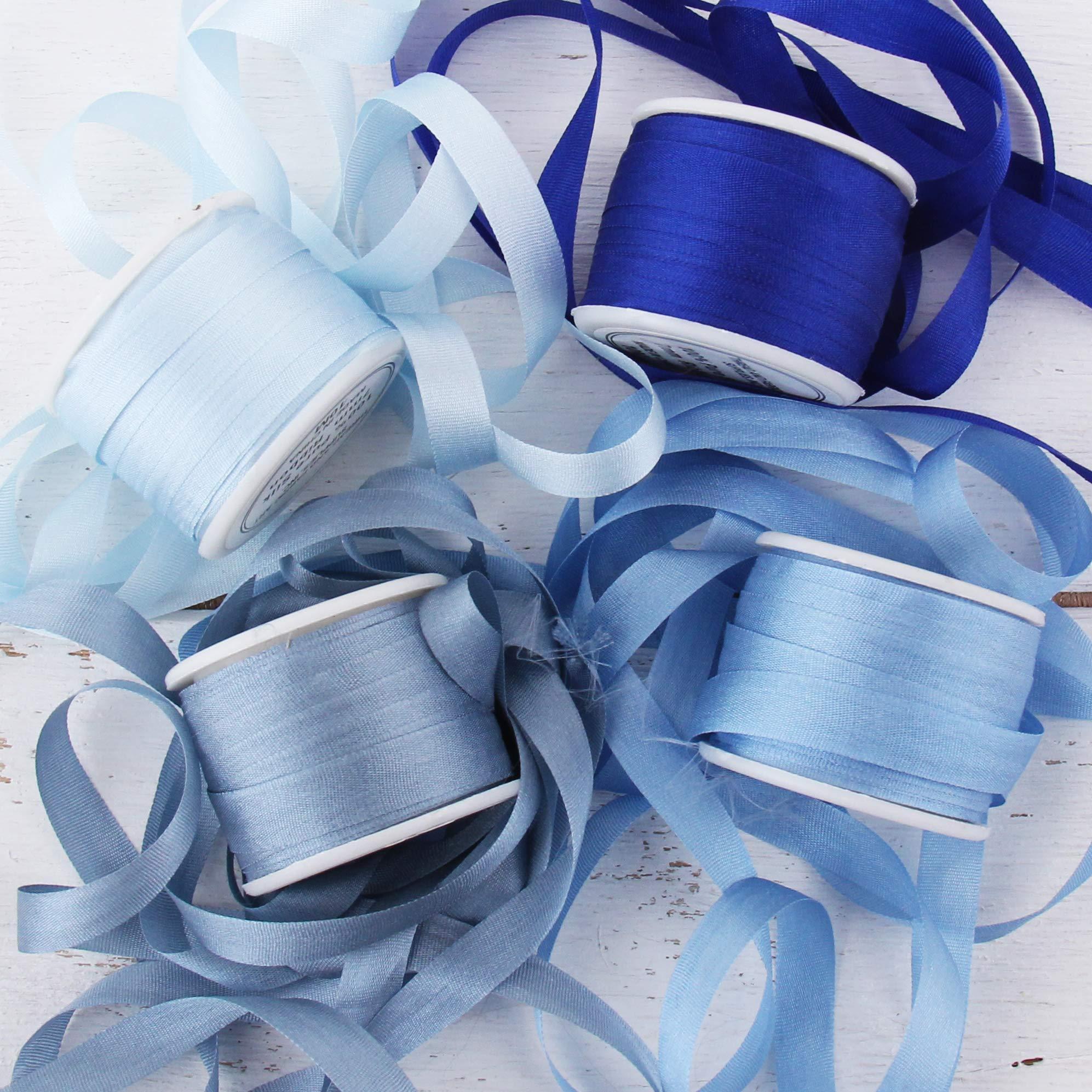 Threadart 7mm Silk Ribbon Set - Blue Shades - Four Spool Collection - 100% Pure Silk Ribbon - 10m (11yd) Spools - 44 Yards of Ribbon