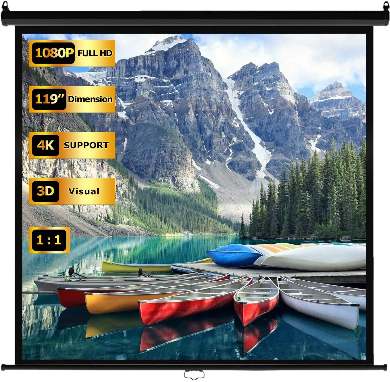 FDW Pull Down Projector Screen 119 inch 4K 1080P LCD Home Theater Projector